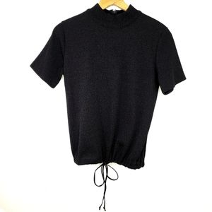 Vintage 90s Mock Neck Drawstring Top Parisian Med